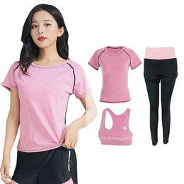 $enCountryForm.capitalKeyWord Canada - Woman 3 Pieces Fitness Suit Training Female Gym Workout Clothing Yoga Set Shirt+Bra+Pants Breathable sportswear Sport Suit