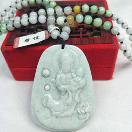 $enCountryForm.capitalKeyWord Australia - Zheru Jewelry The only piece of natural Jadeite light green Guanyin pendant Three-color jade bead necklace Send A-level certific