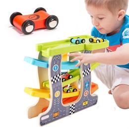 $enCountryForm.capitalKeyWord Australia - Baby Kids Slot Track Car Toys Wooden Ladder Gliding Wooden Slot Track Educational Model To Slide For Children Boy Gifts Spare J190525