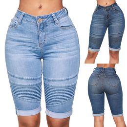 Knee Length Clothing Australia - New Clothes 2019 Women Mid Rise Elastic Zip Skinny Denim Knee Length Curvy Stretch Shorts Jeans Drop Shipping