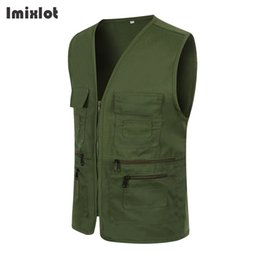 $enCountryForm.capitalKeyWord NZ - Men's Multi Pocket Vest For Summer Men Solid Photographer Volunteer Outerwear Casual Zipper Waistcoat Sleeveless Jacket