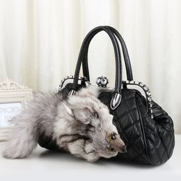 3997d57ca1 New Style Winter Leather Shoulder Bag Real Fox Fur Luxury Designer Boston Tote  Bag Ladies Cute Fur Handbags With Diamonds 776