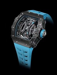 Hollow Fiber Australia - Hot Luxury mens watch Black hollow Mechanical automatic Shockproof watch Carbon fiber case RM 53-01 Blue Rubber strap Mens Sport wristwatch