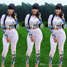 Ladies sexy Long sweaters online shopping - fashion Printing tracksuits women sexy crop top Shirt sweater pants Suit two piece suits lady Club Tight pants suit casual Sports suit