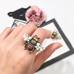 Nice Rings For Girls Australia - OL Fashion Women Jewelry Gold Plated Rhinestone Pearl Bee Ring for Girls Women for Party Ring Nice Gift Designer fashion ring for women