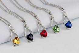 Drifting Bottle Pendant Australia - New Wishing Bottle necklace girl brief paragraph Drift Bottles Crystal love heart pendant necklace For Best Valentine's day Gifts KKA3331