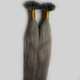26 Fusion Hair UK - New Fashion Silvery Grey Color Hair Extensions Keratin Fusion Nail U tip Human Hair Extensions 100% Remy Pre-bonded Hair Virgin Peruvian