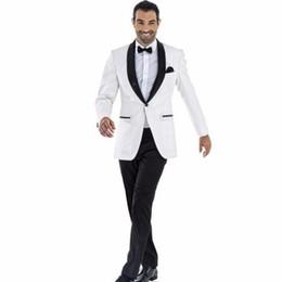 $enCountryForm.capitalKeyWord UK - White 2 Piece Groom Tuxedos with Black Shawl Lapel Men's Wedding Groom Suits Groomsmen Suit Custom Italian Wedding Tuxedo for Man