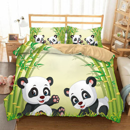 Chinese  3 Pieces Bedding Sets Duvet Cover Twin Pandas New 3D Printing Beddings set Twin Queen King Size In Stock manufacturers