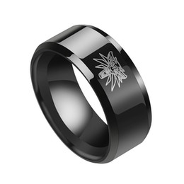 Hunting Rings NZ - Brand Game The Witcher 3 Wild Black Hunting Ring Stainless Steel Medallion Black Rings for Men Punk Wolf Rings