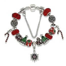 $enCountryForm.capitalKeyWord Australia - Brand Red Beads Charms Bracelets Elegant European Pandorx Design Santa Claus Christmas Tree Snowflakes Bangle for Christmas Jewelry Gift DHL