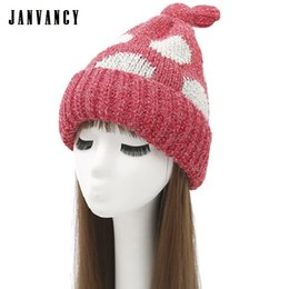 762cf4bfddf Autumn and Winter Cute Knotted Big dot Knitted Beanies for Women Thick  Plush Warm Cozy Cap Sweet Velvet Pink Red Funny Hat Tuque