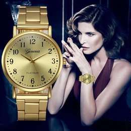 watches gogoey NZ - Luxury Women Watches Gold Dial Ladies Fashion Quartz Wristwatch High Quality Alloy Strap Clock Gift Zegarki Damskie@50