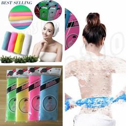 NyloN exfoliatiNg towel online shopping - Newest Bath Brushes Novelty Multi Colors Nylon Sponges Exfoliating Beauty Skin Shower Wash Bath Cloth Towel Bath Brushes I009