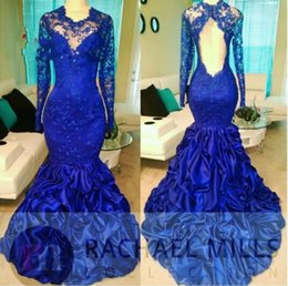 d3c4a27acf20d Royal Blue Mermaid Evening Dresses For Black Girl 2019 Long Sleeves Sexy  Illusion Back Long Formal Party Evening Gown