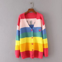 8aa1df7089 High Quality Women Fashion 2019 Autumn Knitted Rainbow Cardigan Long Sleeve  V Neck Loose Casual Embroidered Cardigan Sweaters