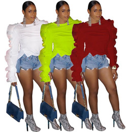 $enCountryForm.capitalKeyWord Australia - 2019 Newest Fashion Women Clothes Ruffles Ruched White Tops For Ladies Elegant Long Sleeve Sexy T-Shirt Femme white green red