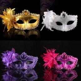 Vente en gros Mode Femmes Sexy Hallowmas Venetian Eye masque Mascarade Ball Masques avec Plume De Fleur Pour La Mariage Anniversaire Danse De Bal Robes De Fête F8203