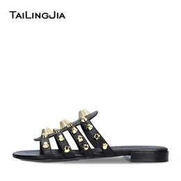 $enCountryForm.capitalKeyWord NZ - Women Black Giant Studded Sandals Gold Stud Slides Sliver Beach Shoes White Slippers Vacation Flats Mules Large Size Wholesale