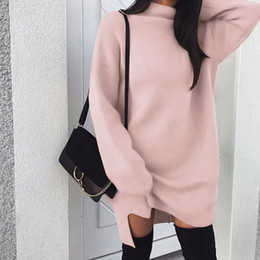 2018 New Autumn Winter Women's High Collar Dress Long Sleeve Solid Pullover Long Length Sweatshirt Tops
