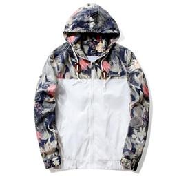 Cool Windbreaker Jackets Australia - New Men Autumn Casual Sport Hoodies Cool Floral Jacket Windbreaker Zipper Coats
