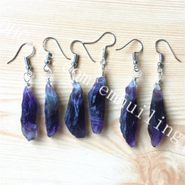 quartz crystal point beads Canada - 10 Pair Random Size Freeform Purple Amethyst Raw February Birthstone Earrings Natural Rough Clear Quartz Crystal Point Stone Dangle Earrings