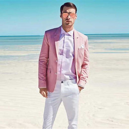 mens white linen two piece NZ - Summer Beach Pink Linen Mens Wedding Suits Business Best Man Blazer Groom Tuxedo Groomsmen Outfit Two-Piece Slim Fit Terno Masculino