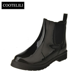 thigh high lace up platform boots 2019 - COOTELILI Brand Plus Size 40 Women Ankle Boots Flat Heels Casual Shoes Woman Patent Leather Boots For Girls Black Motorc