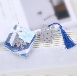 $enCountryForm.capitalKeyWord Australia - 2019 New hot sale Metal Satin Tassels Snow Bookmark Snowflake Bookmarks Wedding Favors Party small Gifts