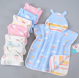 Wholesale Baby Bath Towel Alpaca bear Mushroom Kids Bathrobe Blanket Wrap for Newborn Infant Toddler Boys Girls Gauze muslin Cotton Breathable towels