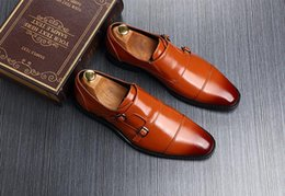 $enCountryForm.capitalKeyWord NZ - High-end Men Double buckle Dress shoes loafers Pointed Toes Slip-On Breathable Celebrities Men Prom Party Oxford Shoes big size