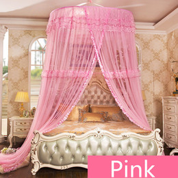 mosquito nets for doors 2019 - Round Single-door Mosqutio Net For Double Bed Hung Dome Mosquito Net Kids Room Decor Bed Netting Canopy Mesh Adults 2 Co