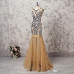 $enCountryForm.capitalKeyWord Australia - 2019 New Champagne Mermaid Evening Gowns Floor Length Sexy Backless Formal Party Dress Custom Made Bling Bling Shinning Beaded Prom Dresses