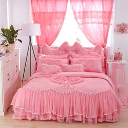 Queen Size Princess Bedding Australia - Luxury Wedding Bedding Set Lace Stain Cotton Fabric King Queen Twin size Girls Princess Bed skirt Duvet Cover Pillow shams
