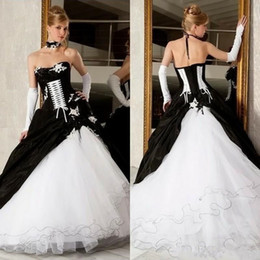 Vintage Victorian Lace NZ - Vintage Black and White Corset Wedding Dresses 2019 Puffy Skirt Ruffles Lace-up Victorian Plus Size Church Bridal Wedding Gown
