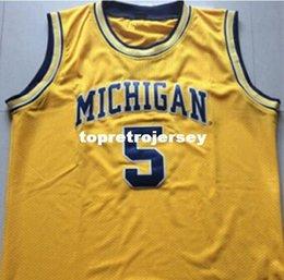 bd26f93b476 Yellow Michigan Basketball Jersey Canada - Cheap custom  5 Jalen Rose  4  Chris Webber