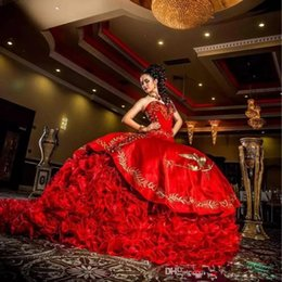 $enCountryForm.capitalKeyWord Australia - Red Luxury Satin Beaded Ball Gowns Sweet 16 Quinceanera Dresses Sweetheart Gold Embroidery Layered Ruffles Prom Dresses