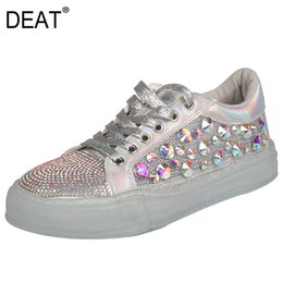 Coloured Flats NZ - [DEAT] 2019 New Spring Summer Round Toe Lace-up Crystal Spliced Mesh Colour Casual Single Flat Shoes Women Fashion Tide 10SJ226