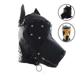 Dog Zipper Australia - Sexy Bondage Hood Fetish Zipper Mouth Sex Dog Mask Adult Game Sex Toys For Women Couples Pu Leather Slave Mask