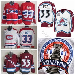 Großhandel Top Qualität # 33 Patrick Roy Jersey Colorado Avalanche 2001 CCM Stanley Cup Weiß Montreal Canadiens Patrick Roy Hockey Trikots