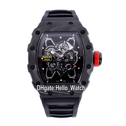 sport watches red dials 2021 - New RM35-01 Skeleton Dial Miyota 6T51 Automatic 35-01 Mens Watch RAFA NTPT Carbon Fiber Case Sapphire Rubber Sport Watches Hello_Watch