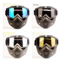 Wholesale Detachable Motorcycle Tactical Face Goggles Mask Moto Wind Dust Proof Racing Cycling Helmet Protective Goggles Open Face Mask