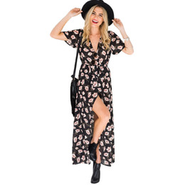 3d295803ca Beach vacation dresses online shopping - Women Clothes Dresses V neck Short sleeved  Flower Designer Dress