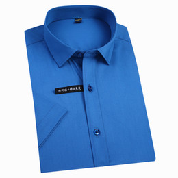 $enCountryForm.capitalKeyWord Australia - Men's Short Sleeve Bamboo Fiber Regular-fit Basic Dress Shirts Easy Care Solid Color Comfortable Non Iron Male Formal Tops Shirt Q190530