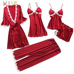 8499d2956d1 Women Sleepwear 5PC Pajama Sets Plus Size 5XL Sexy Lace Satin Nightwear  Babydoll Lingerie Intimate Ladies pijama mujer 18Jan12
