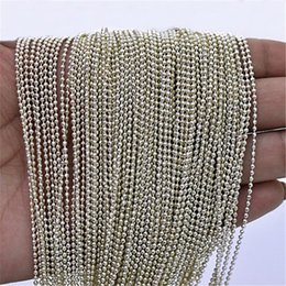 Chains Mm Australia - 500 pcs lot,Electroplate Non-fading Necklaces DIY Bead chain Safety without stimulation Shining 3 colors Pendant Chain Model 60 cm*2.2 mm