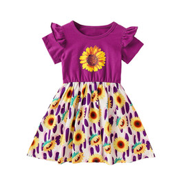 sunflower printed fashion UK - kids clothes girls Flying sleeve Sunflower print dress children Princess Dresses 2020 summer fashion baby Clothing Z1113