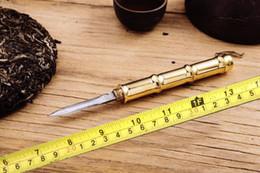 Brass Needles Australia - Mini delicate Brass bamboo Handle Damascus steel tea needle tea knife Damascus tea sword Teaware accessories 1pc