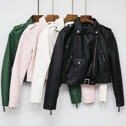 Jackets ladies winter wear online shopping - 2019 New Fashion Women Autumn Winter Faux Soft Leather Jackets Coats Lady Long Sleeve Beige Red Black PU Zipper Office Wear