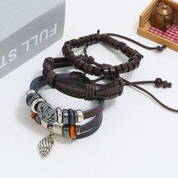 $enCountryForm.capitalKeyWord Australia - 3 Pcs Fashion Personality Hand-woven DIY Jewelry Vintage Alloy Conch Pendant Multi-layer Bracelet Women Men's Accessories